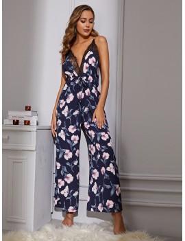 Floral Print Lace Trim Cami Jumpsuit