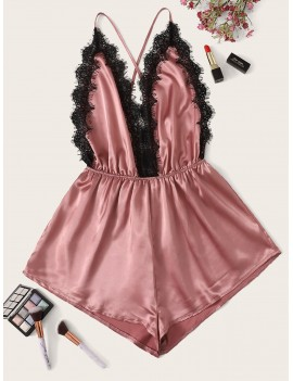 Criss Cross Eyelash Lace Satin Romper