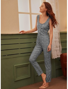 Geometric Button Front Jumpsuit