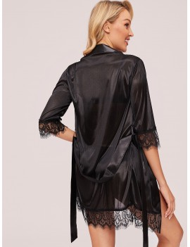 Contrast Lace Robe With Belt