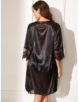 Contrast Lace Satin Robe With Belt