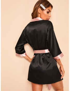 Contrast Side Belted Satin Robe With Thong