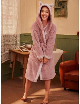 Cartoon Belted Hooded Plush Robe
