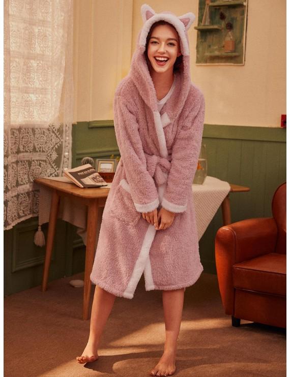 Cartoon Belted Hooded Plush Robe