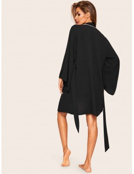 Contrast Binding Self Belted Robe
