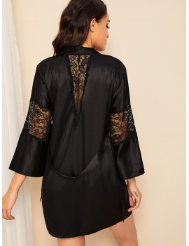 Contrast Lace Satin Belted Robe