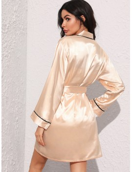 Contrast Binding Satin Cami Dress With Robe