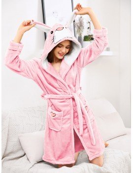 Cartoon Embroidered Ear Hoodie Wrap Robe