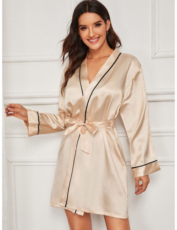 Contrast Binding Satin Robe With Belt
