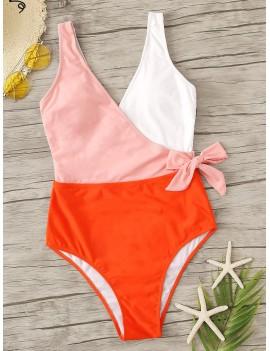 Colorblock Surplice Neck One Piece Swimsuit