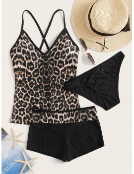 3piece Leopard Co-ord Tankini Set