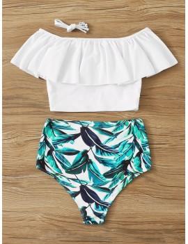 Flounce Bardot Top With Random Leaf Print Swimwear