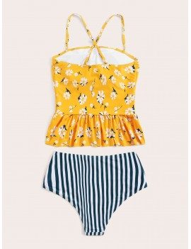 Floral Ruffle Hem Top With Striped Tankini Set