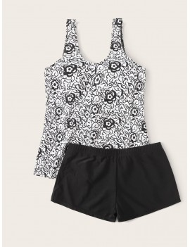 Floral Print Top With Shorts Tankini