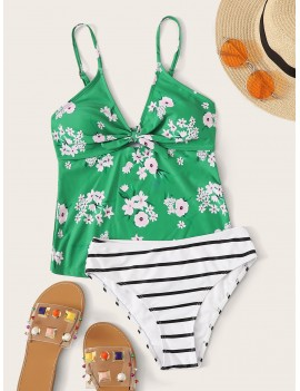 Floral Print Top With Striped Panty Tankini