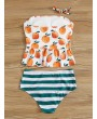 Orange Print Ruffle Hem Top With Striped Tankini