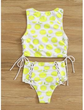 Lemon Print Lace Up Top With High Waist Tankini