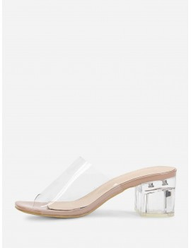 Chunky Heeled Clear Mule Sandals